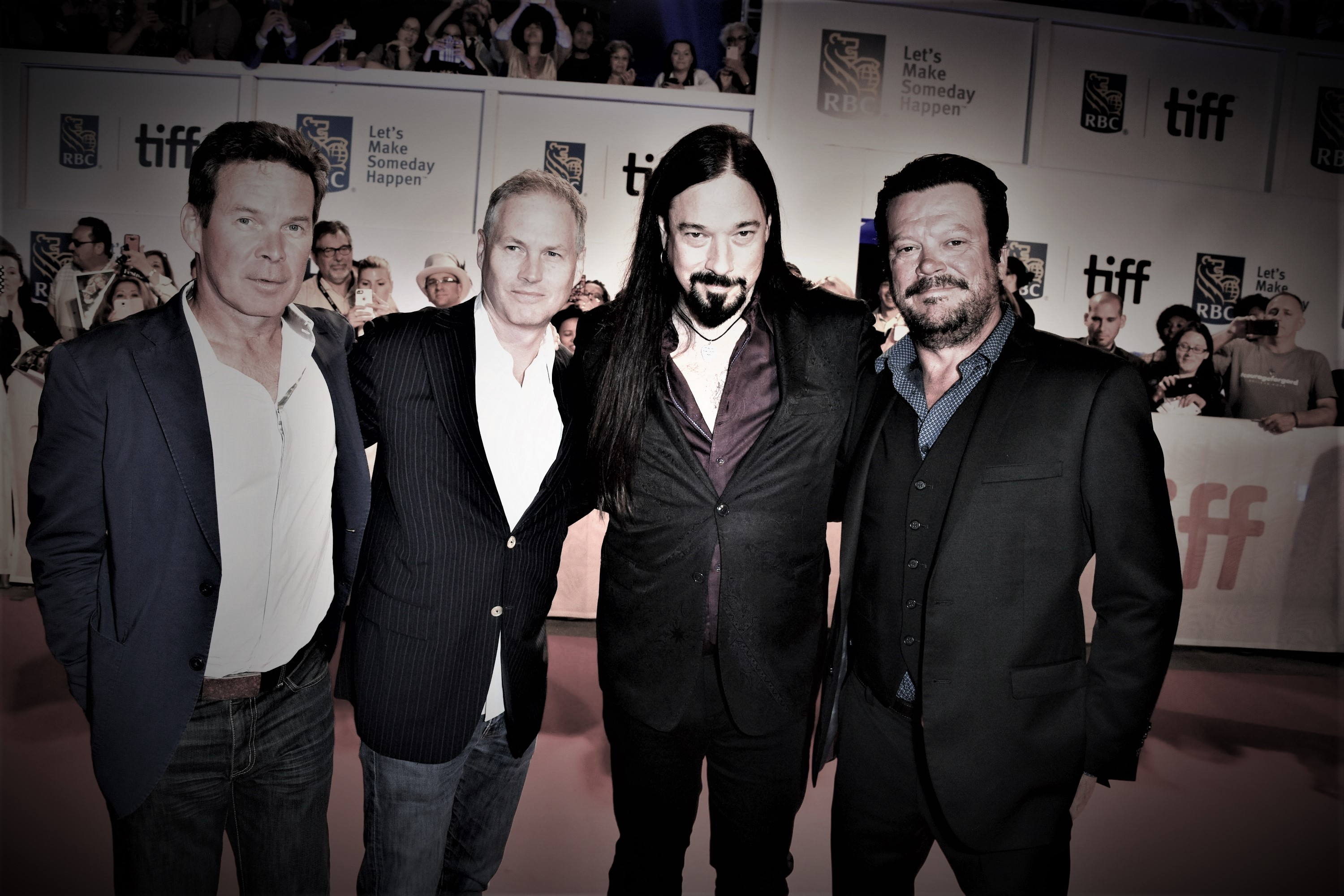Backstage at TIFF sans Gord Downie::The Tragically Hip from left: Gord Sinclair, Johnny Fay, Rob Baker and Paul Langlois Pic: George Pimental