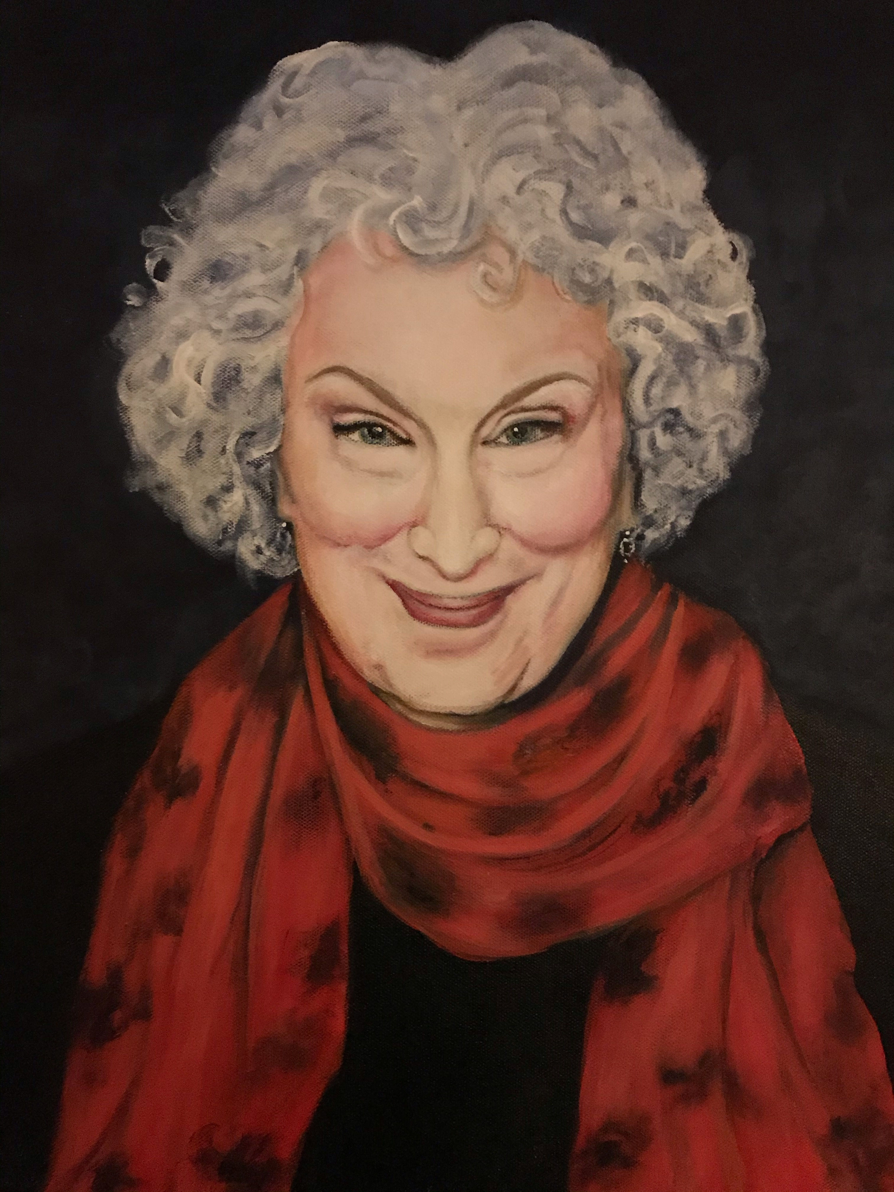 Author Margaret Atwood painting by Ken Tobias, acrylic.