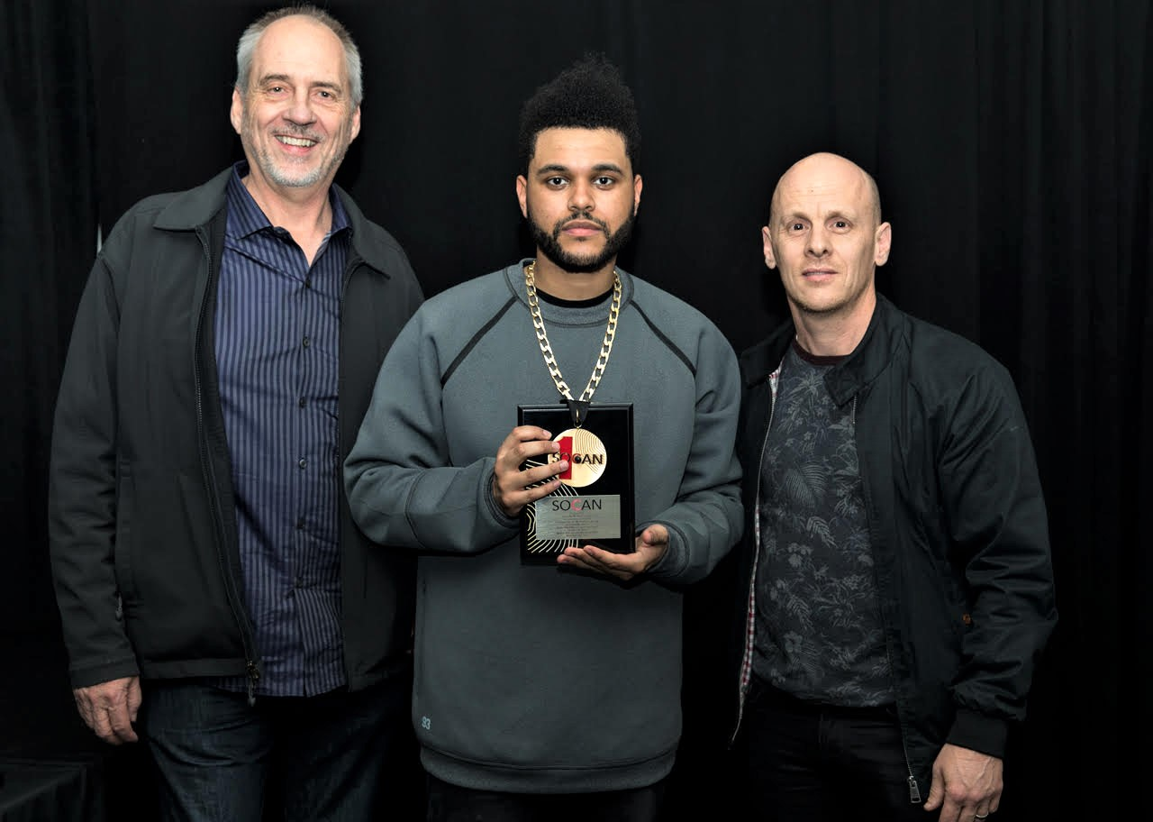 Michael McCarty with Abel Tesfaye (The Weeknd) and SOCAN VP Rodney Murphy.