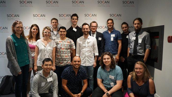 2016 Fred Sherratt Award recipients visit SOCAN. Photo courtesy MusiCounts.