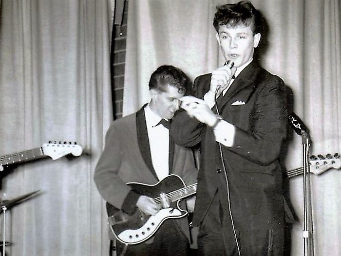 Circa 1961 fronting his band The Corvettes featuring Tom Ambeau (drums, guitar), Milt Budarick (bass guitar), Bert DesRochers (piano), Larry French (lead guitar, vocals) and Gary French (lead vocals, drums)