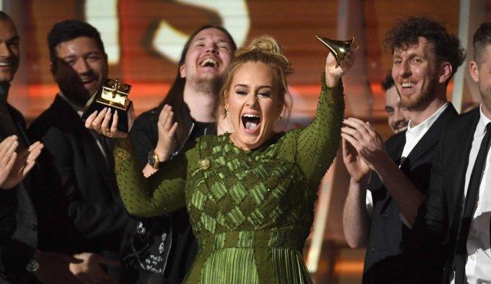 Adele celebrating at this year's Grammy Awards