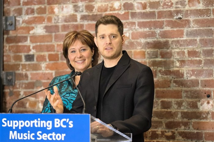 At Warehouse Studios in Vancouver yesterday, Michael Bublé stepped up to support Premier Christy Clark's big ticket music biz initiative. Photo: Siobhan Ozege, Music Canada