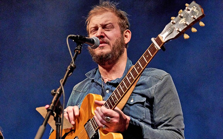 Bon Iver's Justin Vernon on stage at his curated Eaux Claires Music Festival in Wisconsin late this summer.
