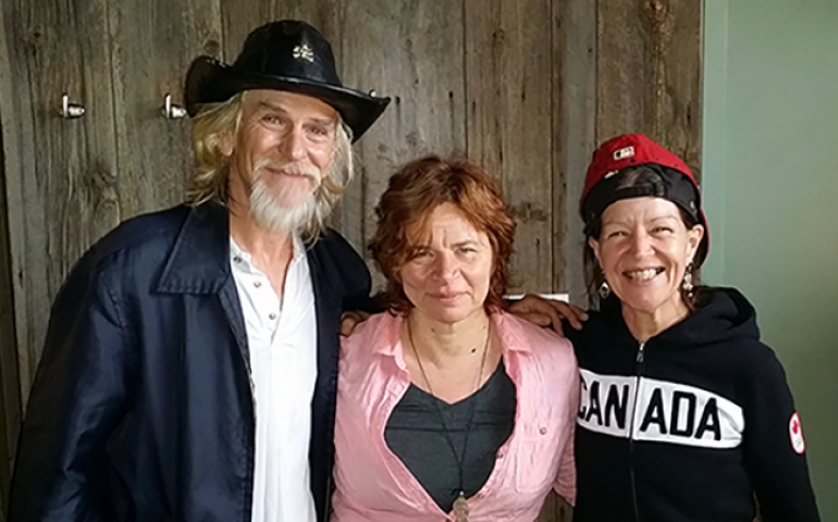 Lorraine Segato (centre) with Woody Cormier and Maryanne Epp, both featured in the Lowdown Tracks documentary and CD — photo courtesy of Songs From The Lowdown.