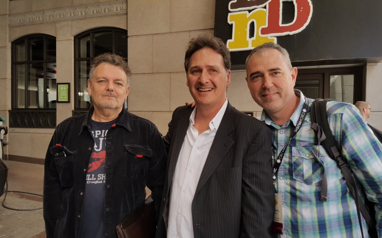 Matt on the job @ CMW. Pictured l-r: Been There Done That artist management's Michael Greggs, Cadence Music Group GM Tony Tarleton, and Matt Smallwood.