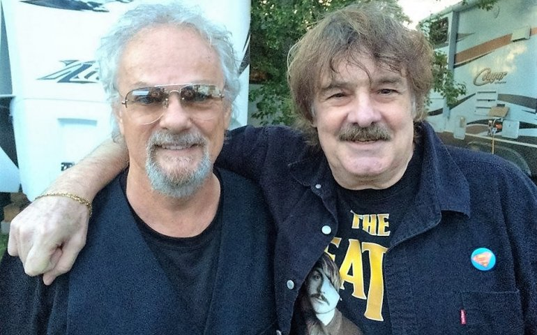 Myles Goodwyn and Burton Cummings backstage at the Thunder Bay Blues Festival this weekend. Others on the bill for the three-day event included Tom Cochrane & Red Rider, Serena Ryder, Colin James, David Gogo, and Downchild Blues Band. Pic posted to Facebook by Daniel O'Dowd.