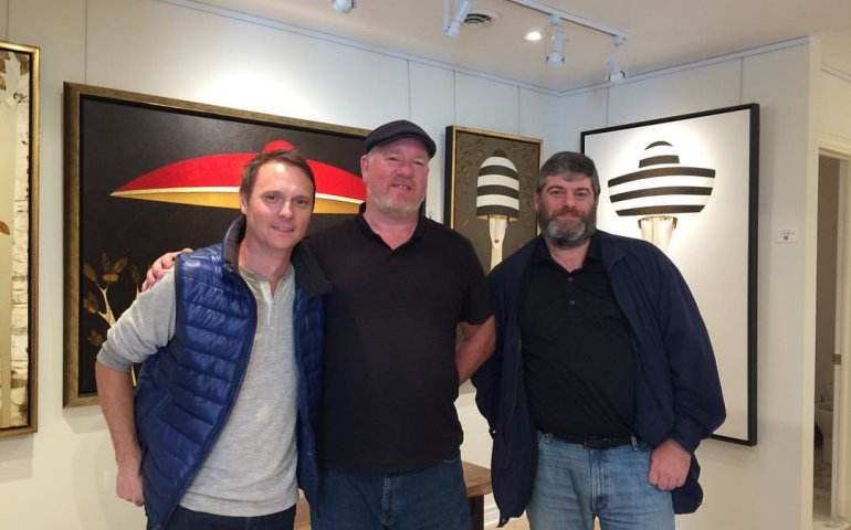 Nielsen Music Canada's Paul Shaver and Paul Tuch flank True North Gallery owner Geoff Kulawick after a client visit in the leafy Waterdown, ON village earlier this week. No doubt they snagged a couple of hot new True North discs, and maybe even shelled out for some wall hangings.