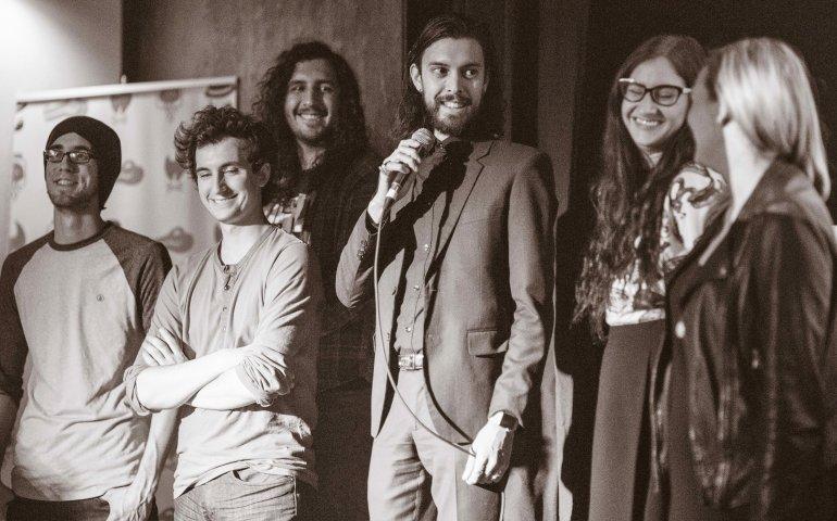 The Pipe & Hat Music Group team announces their expansion at The Good Will. L-R: Martin LaFrenière, Donovan Jonk, Matt Boyer, Tim Jones, Elise Roller, Jane Puchniak (Photo: Travis Ross)