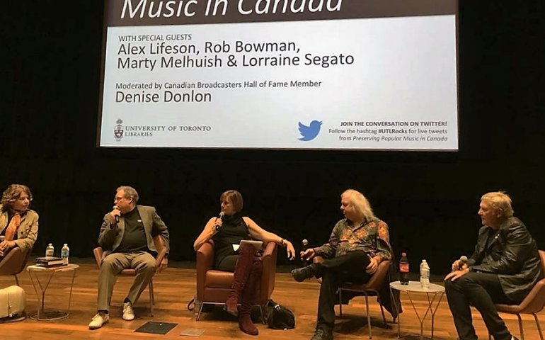 Picture by Karen Bliss at Tuesday night's U of T symposium about preserving our musical heritage, moderated by Denise Donlon and featuring Rush's Alex Lifeson, Martin Melhuish, Rob Bowman and Lorraine Segato.