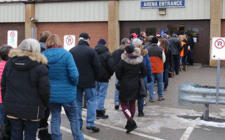 Timmins residents line up outside the Archie Dillon Sportsplex for festival tickets. Pic: Len Gillis, Postmedia Network