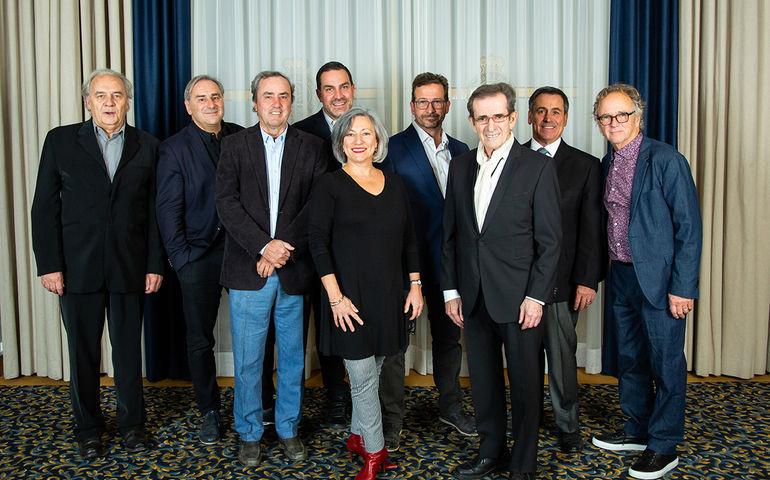 Photo: Valérian Mazataud Le Devoir. The Adisq exec team, L – R: Jacques K. Primeau, Michel Sabourin, Philippe Archambault, Solange Drouin, Yves-François Blanchet, Guy Latraverse, Pierre Rodrigue, André Ménard and Paul Dupont-Hébert.