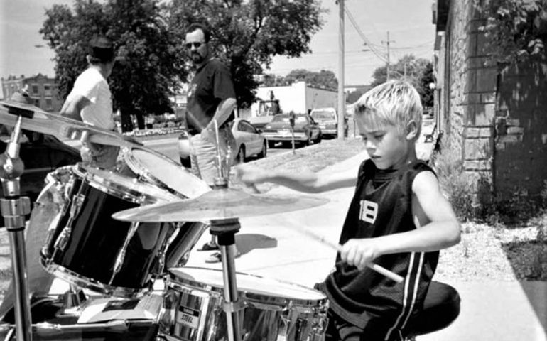 An eight-year-old Biebs hamming it up behind the skins. File photo/The Beacon Herald/Postmedia Network