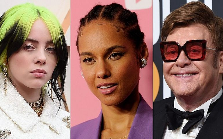 Billie Eilish, Alicia Keys, Elton John. Pic: Fox News