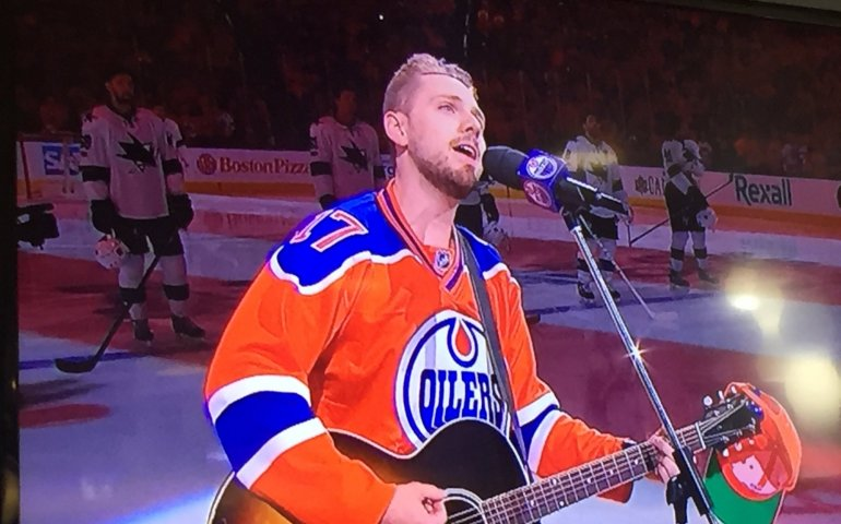 "Brett Kissel performing ""We're Gonna Win the Cup"" on hometown ice"
