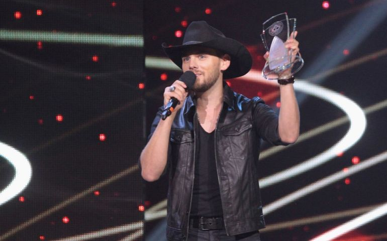 Brett Kissel accepting his 2016 CCMA Male Artist of the Year Award in London, ON