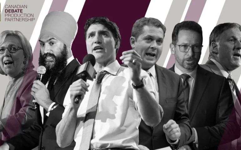 L-R: Elizabeth May (Green Party), Jagmeet Singh (NDP), Justin Trudeau (Liberal), Andrew Scheer (Conservative), Yves-François Blanchet (Bloc Québécois) and Maxime Bernier (People's Party of Canada). Image: Canadian Debate Production Partnership