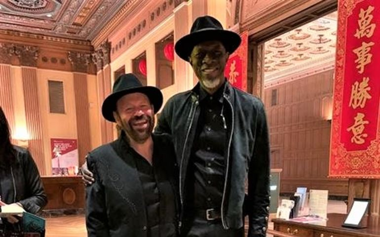 Colin Linden with Keb' Mo' the morning of the Grammys. Pic: Instagram