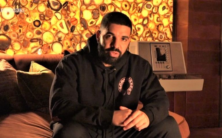 Screenshot of Drake at home on last night's broadcast.