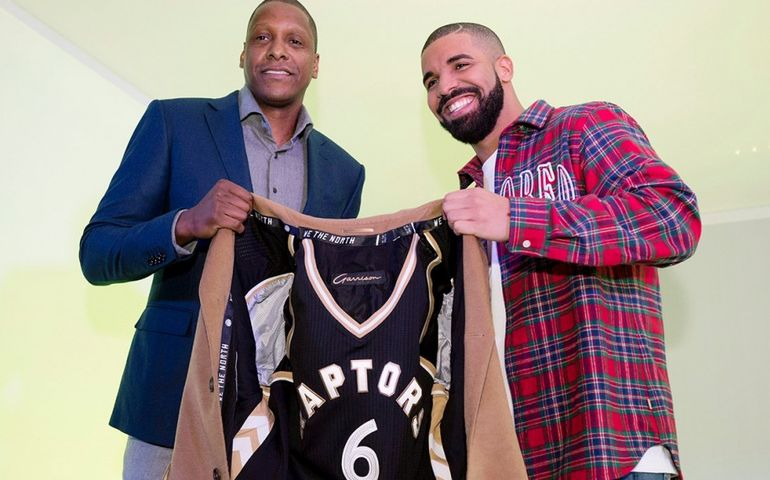 Drake with Raptors president Masai Ujiri   Photo: Sportsnet