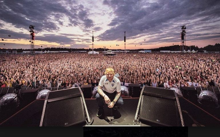 Ed Sheeran on stage in Helsinki recently: Pic: Facebook