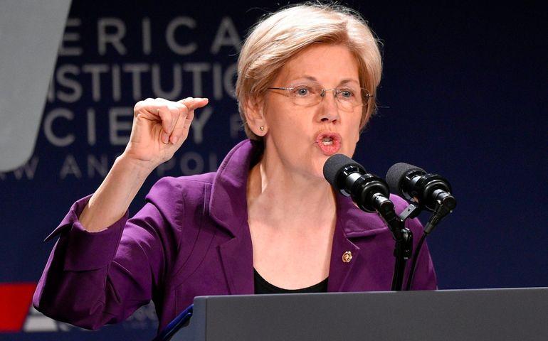 Elizabeth Warren making her point. Pic: AP