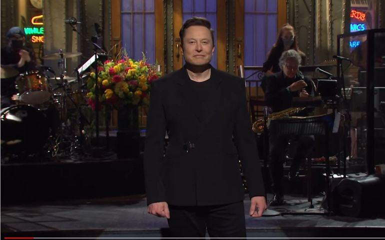 Screen capture of Elon Musk hosting SNL