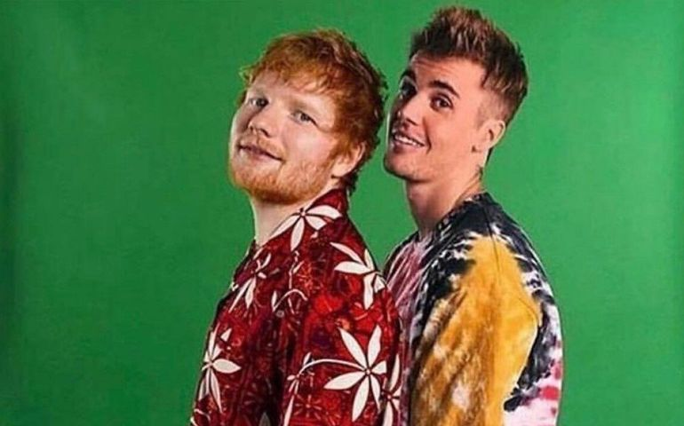 Ed Sheeran and Justin Bieber  Photo: Atlantic Records
