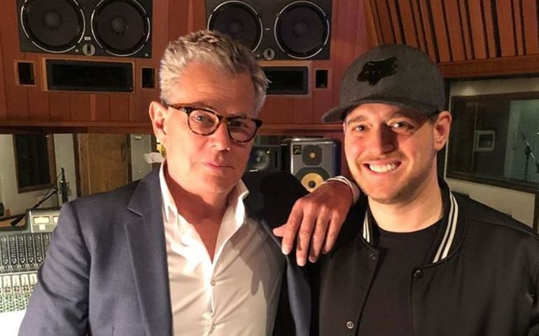 David Foster with Michael Bublé  in the studio. Photo: Instagram