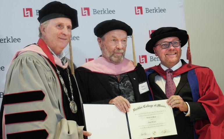 Berklee President Roger Brown, Dr Gary Slaight and Berklee's Academic Affairs Strategic Initiatives VP Dr Joe Bennett. Photo: Bill King