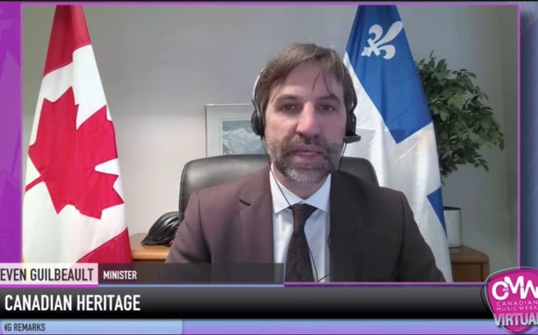 Heritage Minister Steven Guilbeault's virtual appearance at CMW on Tuesday.