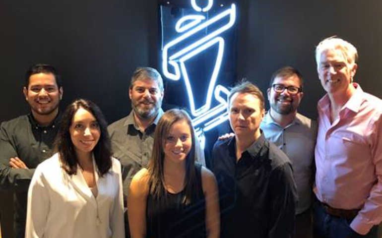 Pictured (l to r) Byron Alfaro: CARAS/Junos; Lauren Gold: CARAS/Junos;  Paul Tuch: Nielsen Music; Alexandra Golden: CARAS/Junos; Paul Shaver: Nielsen Music;  Andres Mendoza: CARAS/Junos; Allan Reid: CARAS/Junos/MusiCounts