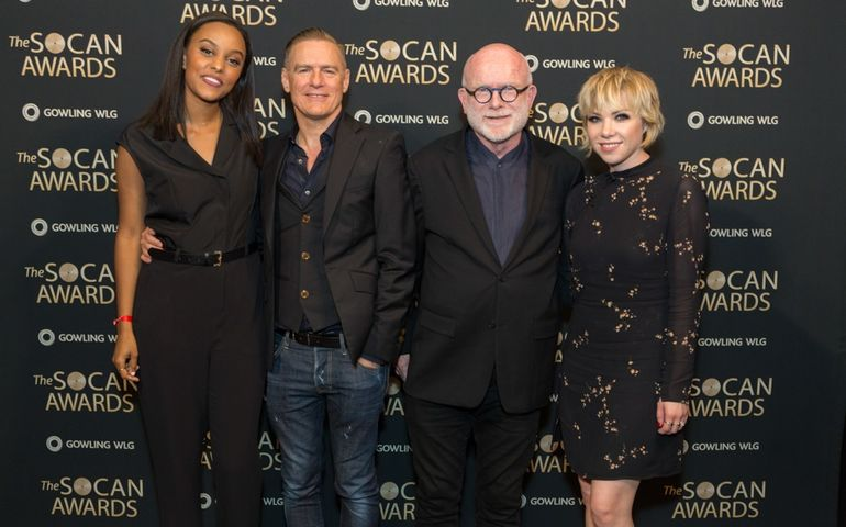 Classic and future stars shining backstage at the SOCAN Awards. Left to Right: Ruth B, Bryan Adams, Jim Vallance and Carly Rae Jepsen.