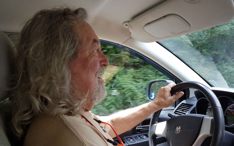 JP, as ever, at the wheel, charting his own direction. Photo: DF