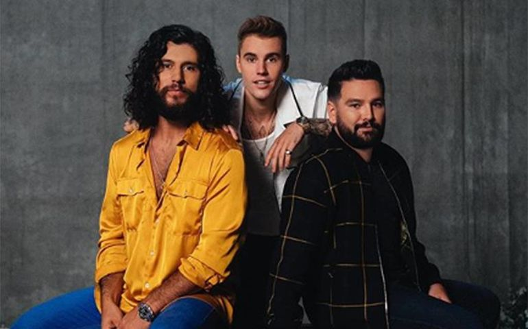 L-R: Dan Smyers, Justin Bieber and Shay Mooney. Pic: Dan + Shay / Instagram