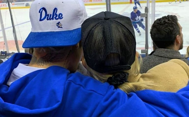 Justin at a Leafs game with Hailey