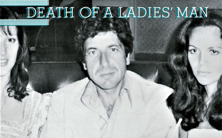 The cover of Death of a Ladies' Man features (L-R) Quebecois model Eva LaPierre, Cohen and Suzanne Elrod—mother of Adam and Lorca Cohen.