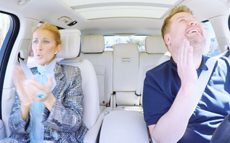 Celine Dion and James Corden  Photo: CBS