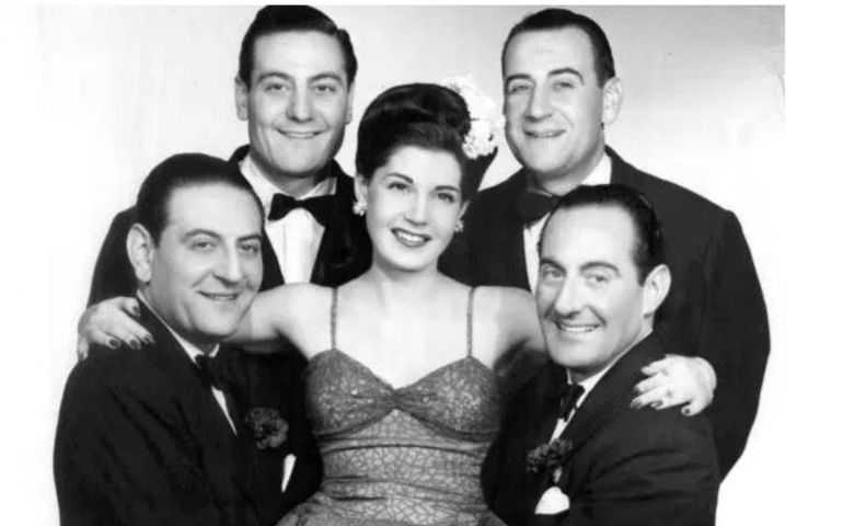 Guy Lombardo with brothers and sister Rose Marie circa 1954