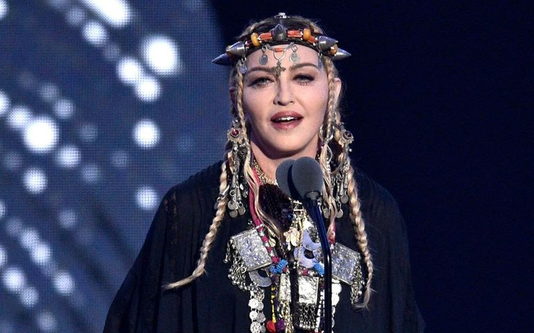 Madonna on stage at the MTV Video Music Awards. Picture credit Pizzello/Invision/AP/Shutterstock