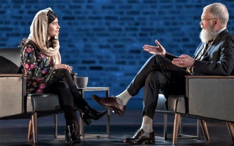 Nobel Prize winner Malala Yousafzai on David Letterman's My Next Guest Needs No Introduction. Photo: Netflix