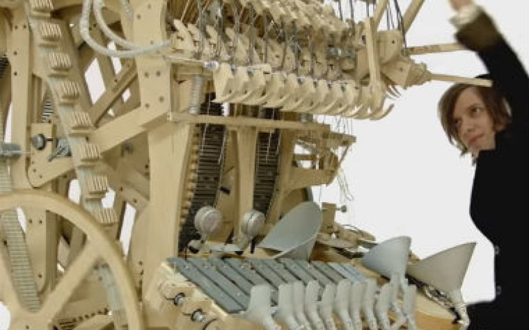 Martin Molin with his Marble Machine