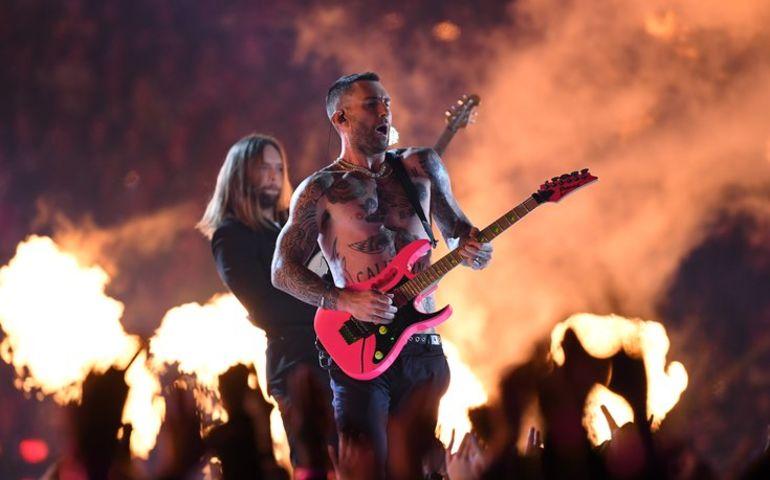 Maroon 5 at Super Bowl. Pic: Christopher Hanewinckel, USA Today