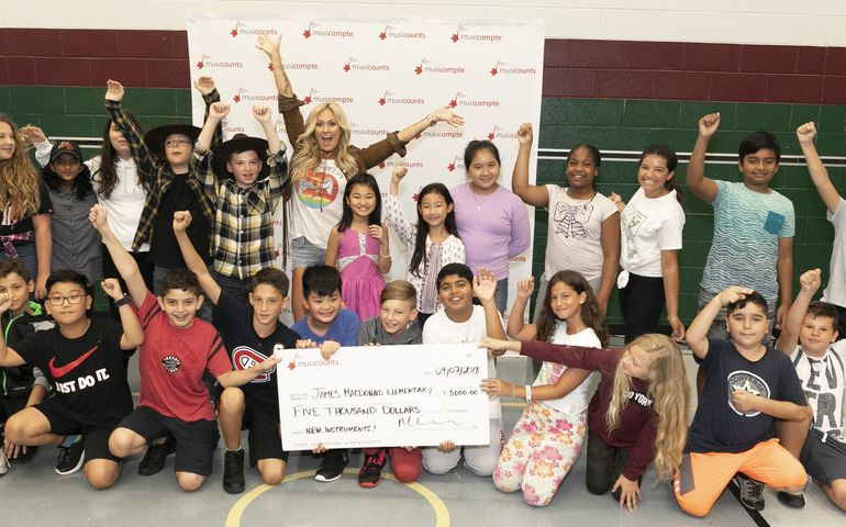 Meghan Patrick and students at the James MacDonald Elementary School in Hamilton