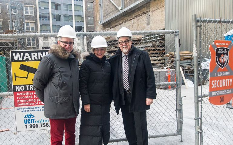 Outside Massey Hall with MP Adam Vaughan and former Heritage Minister Melanie Joly.