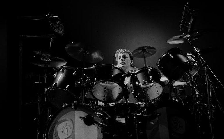 Neil Peart w/Rush - Power Windows tour March 1986. Photographs: Patrick Harbron