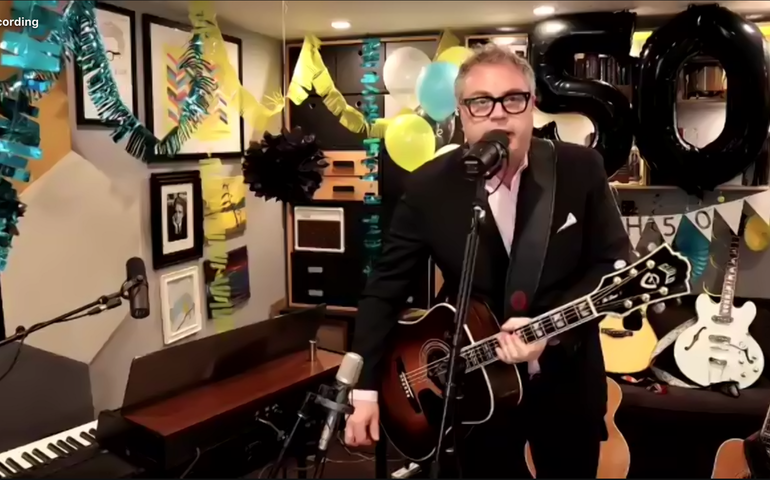 Screen capture of Steven Page's one-year anniversary weekly Live From Home show.