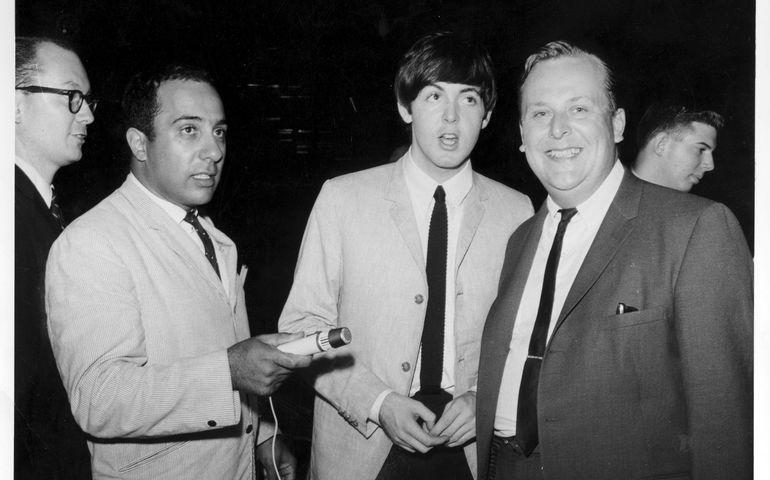 Sept. 7, 1964: L-R: Allan Slaight, CHUM newsman JJ Richards, Paul McCartney and DJ Dave Johnson