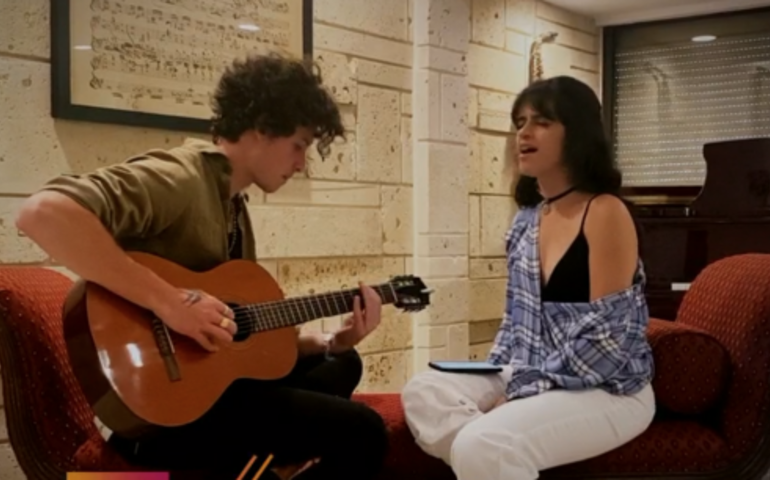 Shawn Mendes and Camila Cabello perform for iHeart Living Room Concert For America — screenshot.