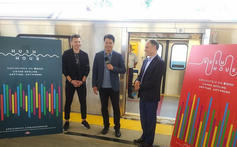 Shawn Mendes with UMC's Jeffrey Remedios and TTC boss Josh Colle